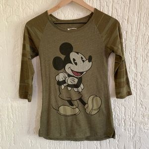 Disney Mickey Mouse Army Green Shirt Size XS